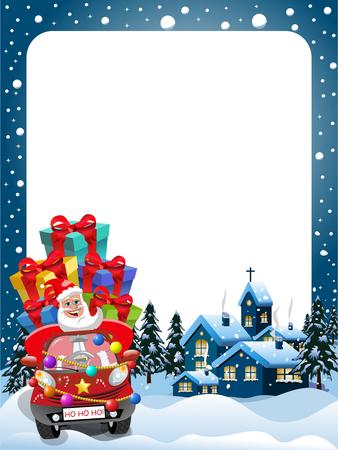 whitespace: Xmas Frame with Santa Claus driving car full of gifts at xmas night