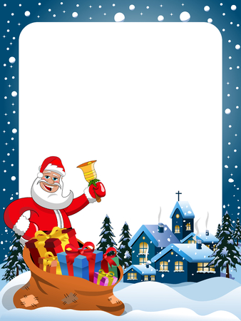 whitespace: Xmas Frame with Santa Claus ringing gold bell at christmas night