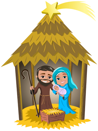 Christmas nativity scene with Joseph and Mary holding newborn Jesus sleeping in a hut isolated Illustration