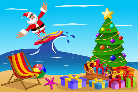 Santa Claus surfing in tropical sea at xmas time