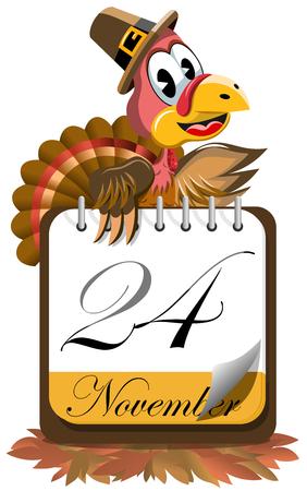 pilgrim hat: Cartoon turkey with pilgrim hat presenting Thanksgiving Day calendar on floor of autumn leaves