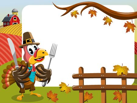 whitespace: Thanksgiving day horizontal frame featuring pilgrim turkey ready to eat with fork and knife outdoor