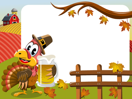 beer stein: Thanksgiving day horizontal frame featuring pilgrim turkey holding beer mug Illustration