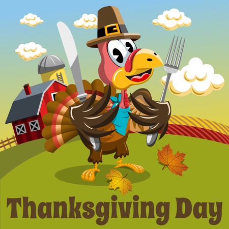 Thanksgiving day background square pilgrim turkey ready to eat holding fork and knife in the countryside