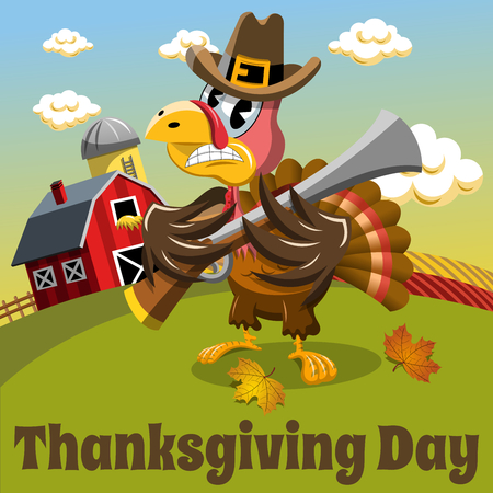 Thanksgiving day background square angry pilgrim turkey holding rifle in the countryside