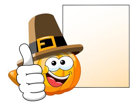 thanksgiving day symbol: Pellegrino Cartoon zucca con il pollice in su la bandiera successiva bianco isolato Vettoriali