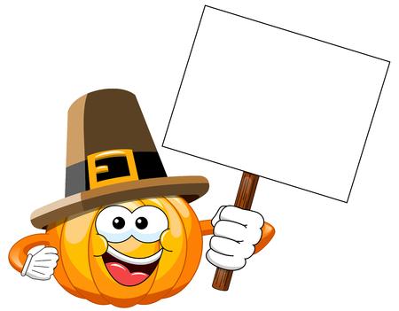 whitespace: Pilgrim Cartoon pumpkin holding blank banner isolated Illustration