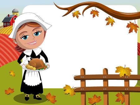 Thanksgiving day background pilgrim woman serving traditional roast turkey horizontal frame