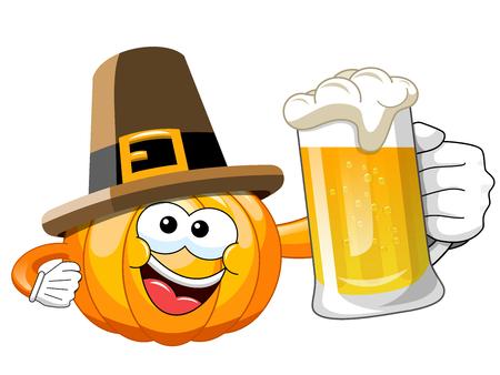 Pilgrim desenhos animados da abóbora que prende a caneca de cerveja isolada