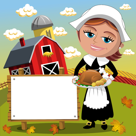 Thanksgiving day background pilgrim woman holding traditional roast turkey with blank banner