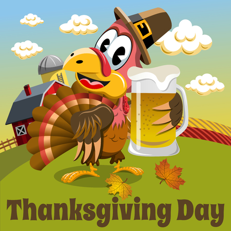 beer stein: Thanksgiving day background square pilgrim turkey holding beer mug in the countryside Illustration