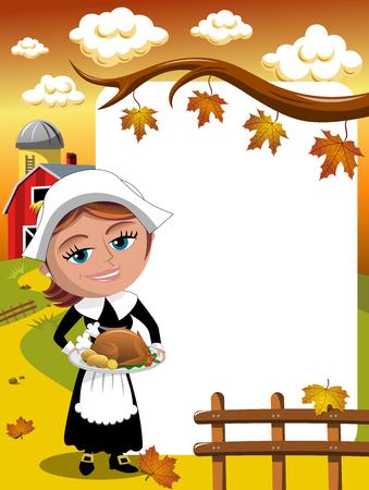 Thanksgiving day background pilgrim woman serving traditional roast turkey vertical frame Illustration
