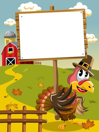 whitespace: Thanksgiving day pilgrim turkey holding blank wooden banner Illustration
