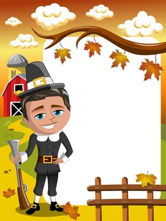 Thanksgiving day vertical frame pilgrim hunter posing with rifle