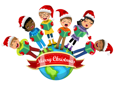 carolers: Multicultural kids wearing xmas hat and singing Christmas carol on the Earth isolated
