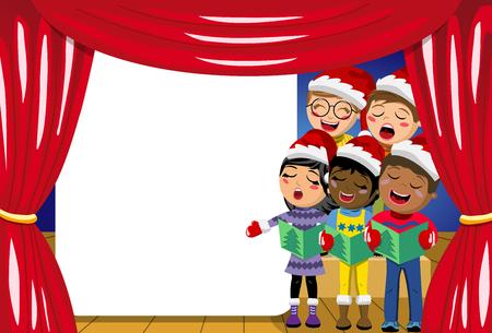 Multiculturele kinderen dragen xmas hoed en zingen kerstlied op kerststal spelen op het podium copyspace Stock Illustratie