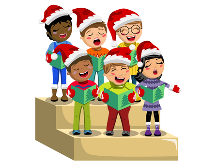 Multicultural kids wearing xmas hat and singing Christmas carol on choir riser isolated Ilustração