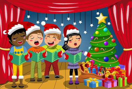 carolers: Multicultural kids wearing xmas hat and singing Christmas carol at nativity play on stage Illustration