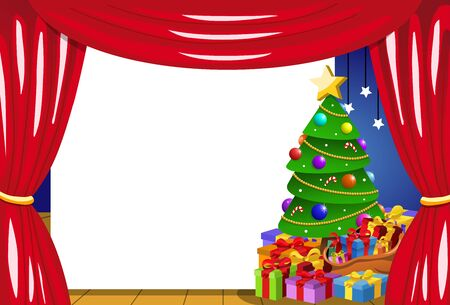 chorus: Blank frame on stage with decorated Christmas tree Illustration