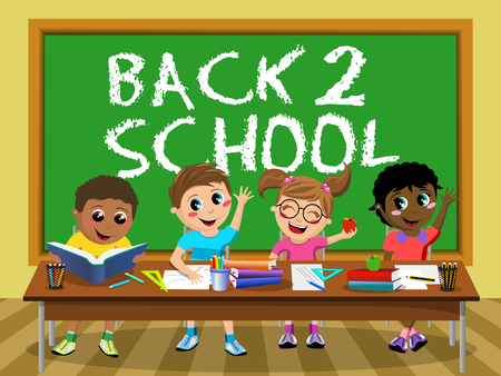 diligent: Back to School on blackboard and Happy diligent kids or children sitting at desk