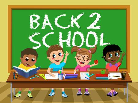 diligente: Volver a la escuela en la pizarra y los niños felices diligentes o niños sentados en el escritorio Vectores