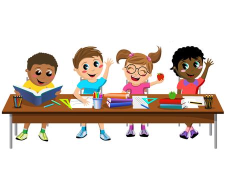 diligente: niños felices diligentes o niños sentados en el escritorio en la escuela aislada