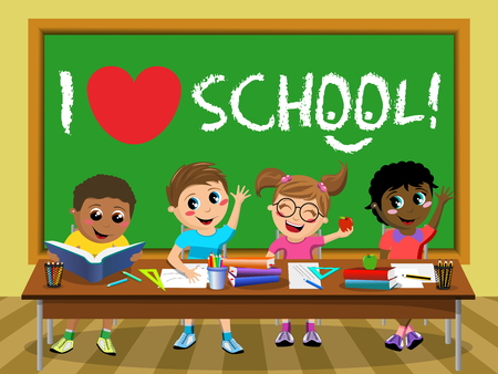 I love school on blackboard and Happy diligent kids or children sitting at desk