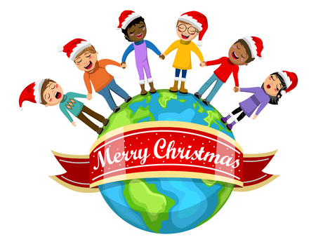 carolers: Multicultural kids wearing xmas hat singing Christmas carol hand in hand on Earth isolated Illustration