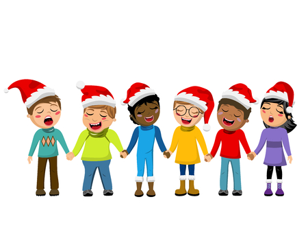 carolers: Multicultural kids wearing xmas hat singing Christmas carol hand in hand isolated Illustration
