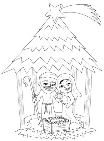 Christmas nativity scene with Joseph and Mary holding newborn Jesus sleeping in a hut isolated coloring page Illustration