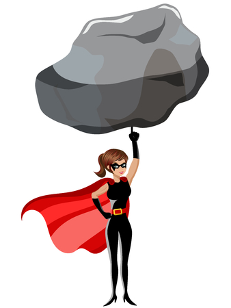 Superhero woman lifting large rock with a finger isolated