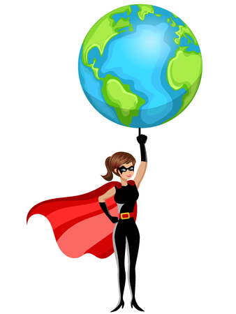 fullbody: Superhero woman lifting earth with finger isolated
