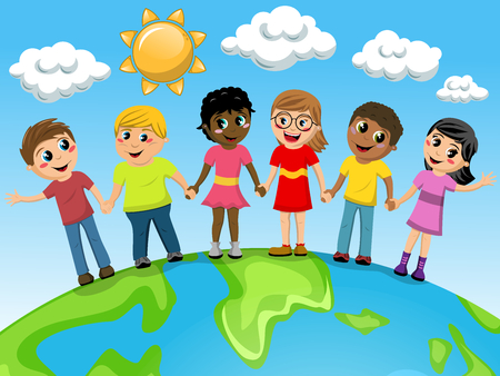 Multiracial Children or kids hand in hand on the world