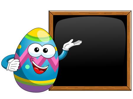 Decorated easter egg cartoon presenting blank blackboard isolated on white Illustration