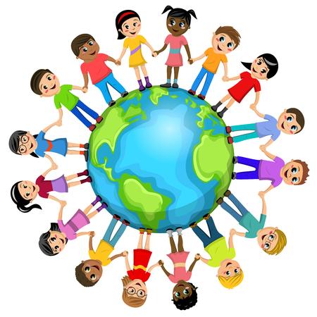 Children or kids hand in hand around the world isolated