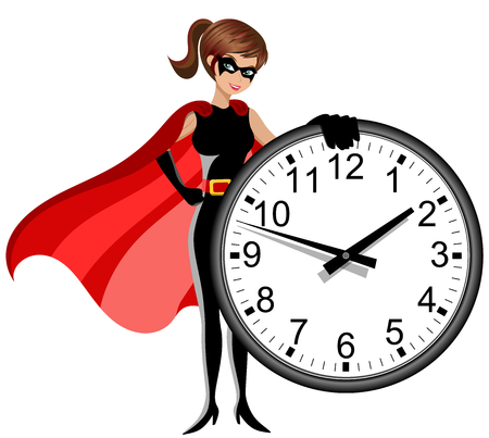 Superhero woman holding wall clock isolated