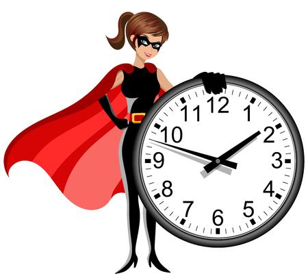 Superhero femme tenant l'horloge murale isolée
