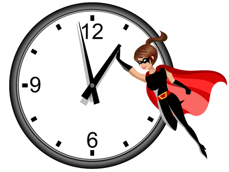 Superhero woman flying and stopping time isolated on white