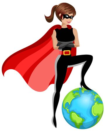 Superhero woman controlling concept earth planet isolated on white
