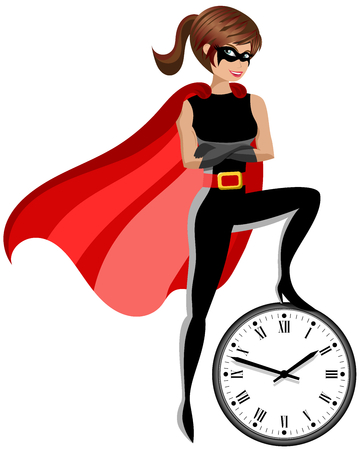 Superhero woman controlling time concept isolated on white
