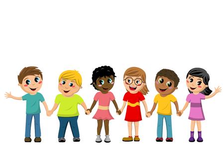 Gelukkige Kinderen of Kinderen hand in hand geïsoleerd Vector Illustratie
