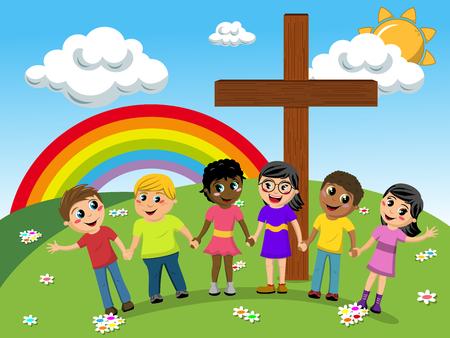 多民族の子供または牧草地のキリスト教の十字近く手をつないで子供