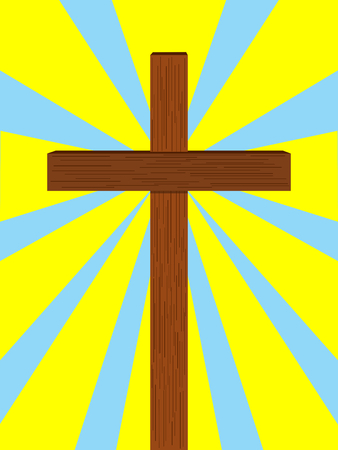Rays of light from christian cross Illustration