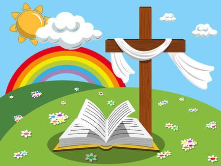 Easter background cross and open bible or gospel in the meadow Illustration