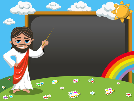 Cartoon jesus teaching holding stick in front of blank blackboard or chalkboard in the meadow