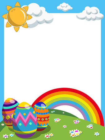 raibow: Easter vertical frame with decorated eggs and raibow in the meadow