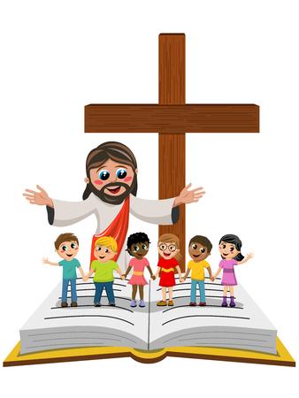 Cartoon open armen Jezus in de voorkant van de kinderen of de kinderen hand in hand op open bijbel of gospel geïsoleerde
