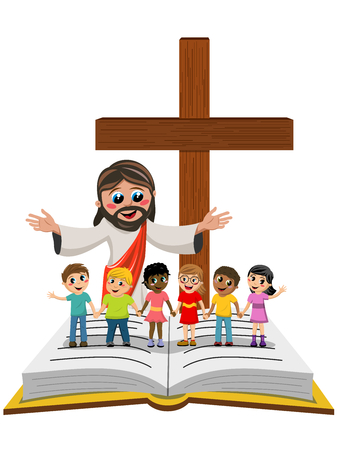 Cartoon open arms Jesus in front of kids or children hand in hand on open bible or gospel isolated
