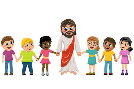 Cartoon Jesus hand in hand with kids or children isolated
