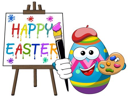 Decorated character painter egg isolated holding brush and painting Happy Easter on canvas isolated Illustration